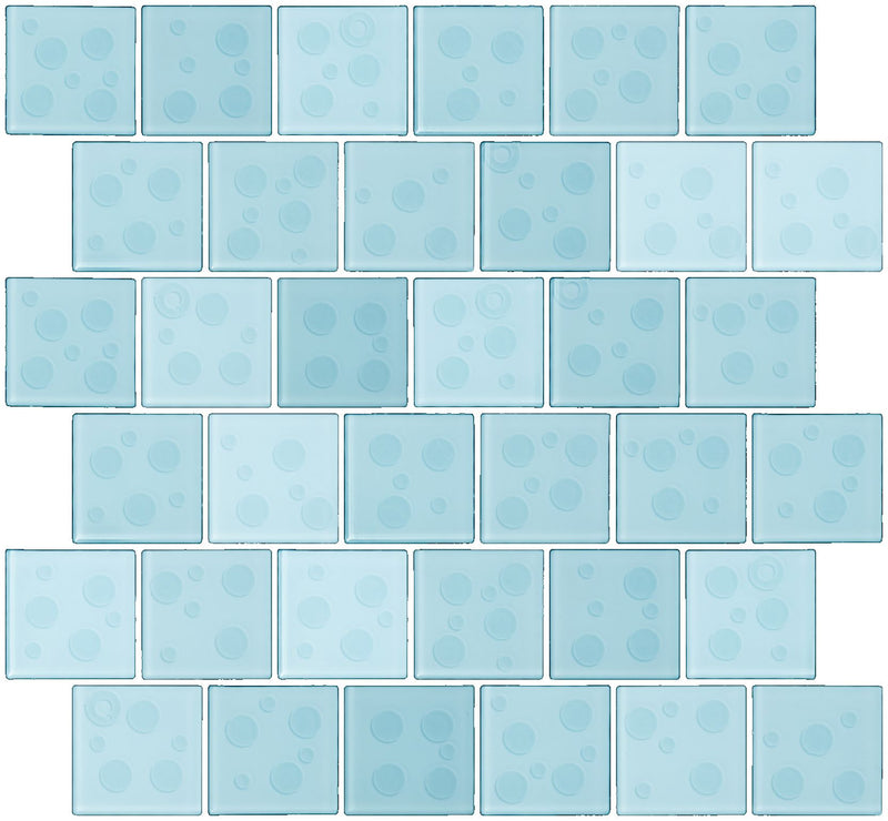 2x2 Inch Cosmos Glass Tile In Robins Egg Blue Offset