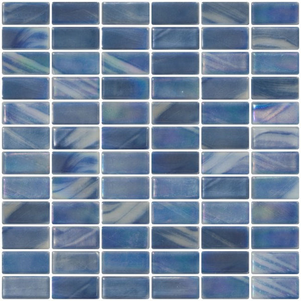 1x2 Inch Blue Gray Iridescent Recycled Subway Glass Tile