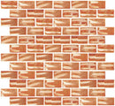 1x2 Inch Citrine Orange Textured Recycled Glass Subway Tile RB