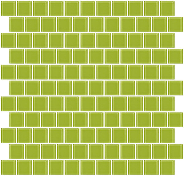 1 Inch Lime Green Glass Tile Reset In Offset Layout