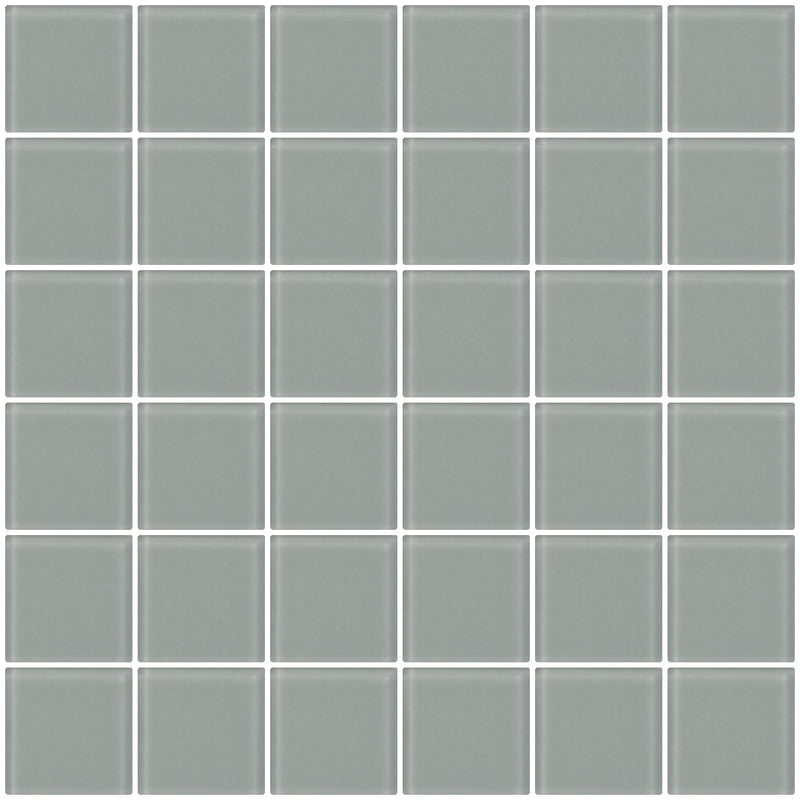 2x2 Inch Gray Frosted Glass Tile Super Sale