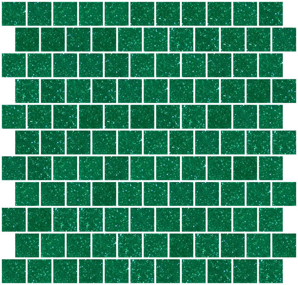 1 Inch Emerald Green Glitter Glass Tile Offset