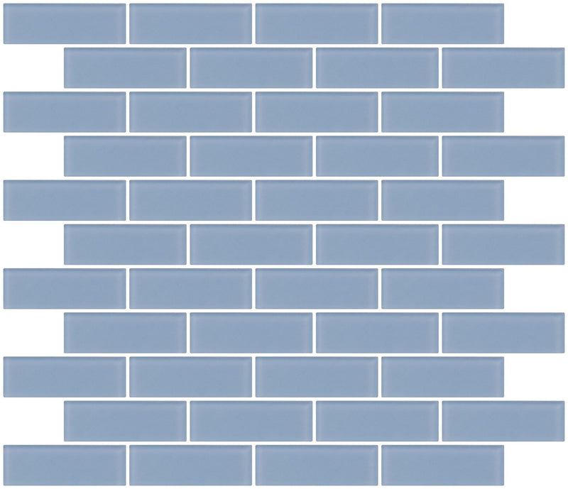 1x3 Inch Pale Sky Blue Frosted Glass Subway Tile