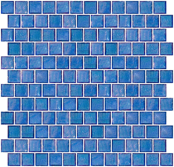 1 Inch Medium Blue Iridescent Glass Tile Reset In Offset Layout
