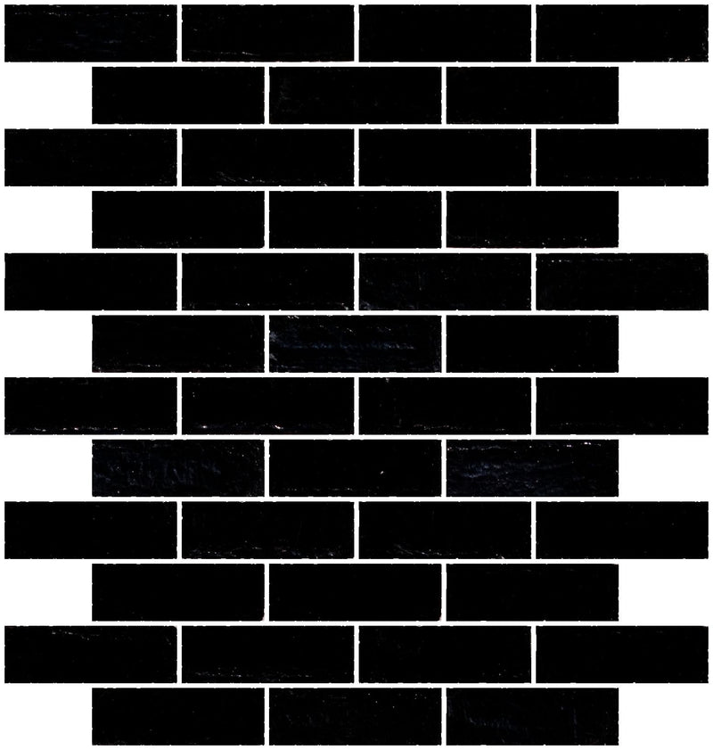 1x3 Inch Opaque Black Glass Subway Tile