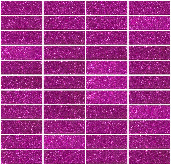 1x3 Inch Fuchsia Pink Glitter Glass Subway Tile Stacked