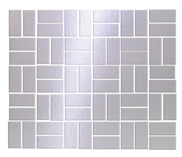 1 X 2 INCH SILVER MIRRORED GLASS TILE IN BASKET-WEAVE LAYOUT
