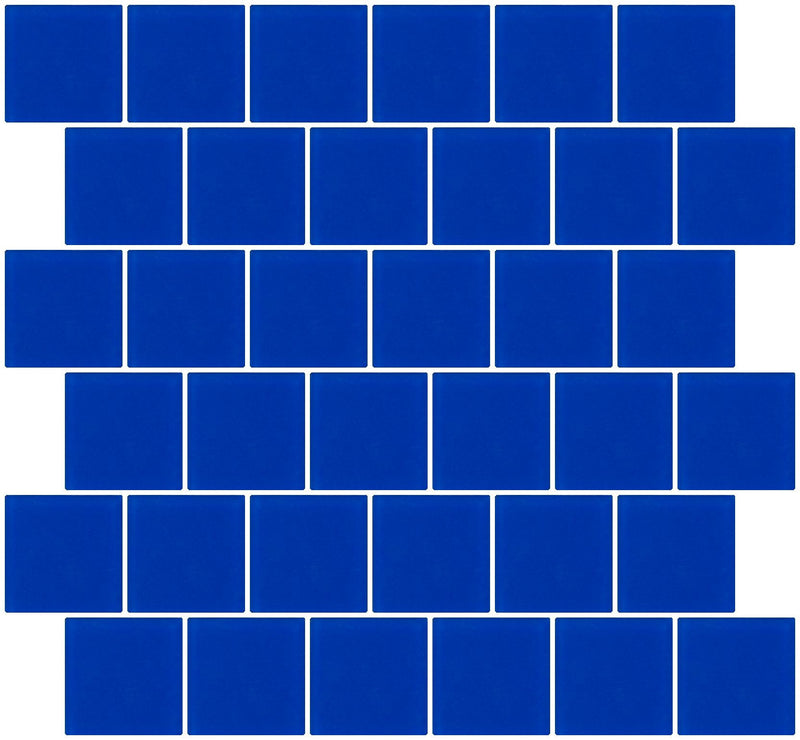 2x2 Inch Cobalt Blue Frosted Glass Tile Reset In Offset Layout