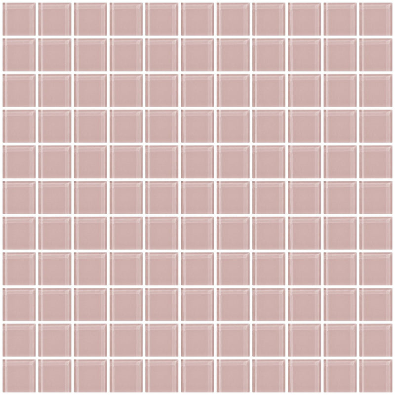 1 Inch Light Pink Glass Tile