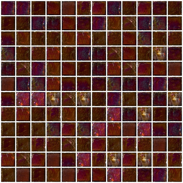 1 Inch Deep Brown Iridescent Glass Tile
