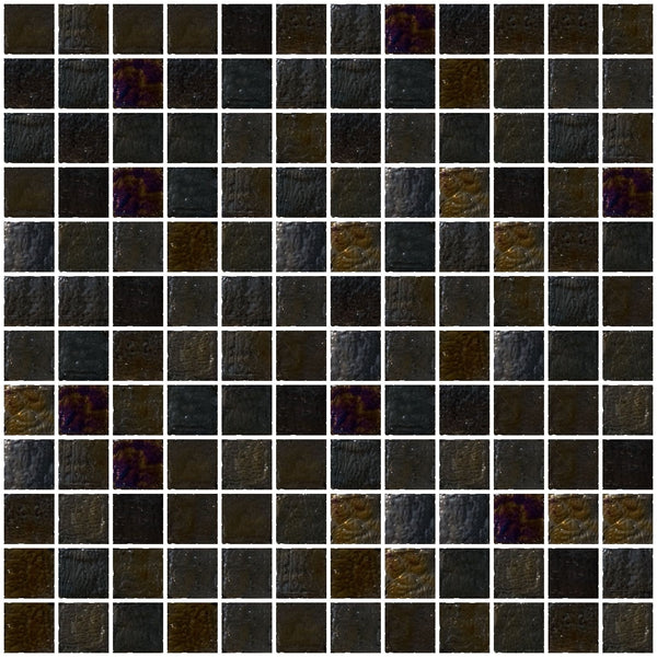 1 Inch Black Iridescent Glass Tile