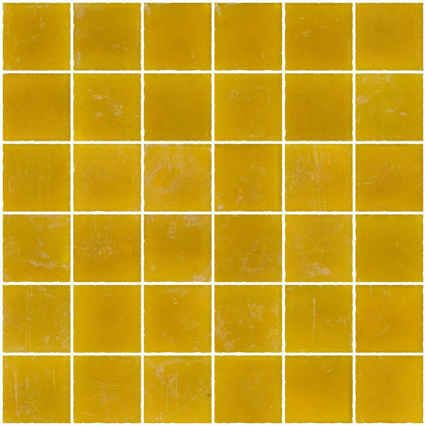 2x2 Inch Matte Deep Sunshine Yellow Glass Tile