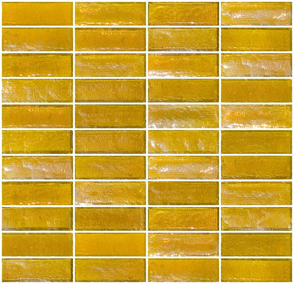 1x3 Inch Deep Sunshine Yellow Iridescent Glass Subway Tile Stacked