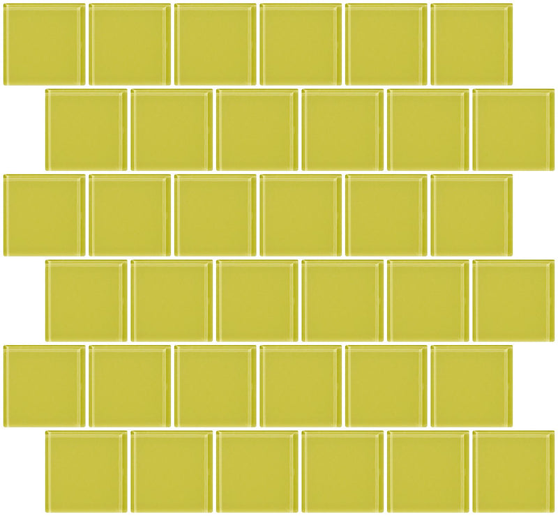 2x2 Inch Light Lime Green Glass Tile Offset