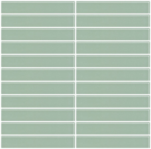 1x6 Inch Light Sage Green Glass Subway Tile