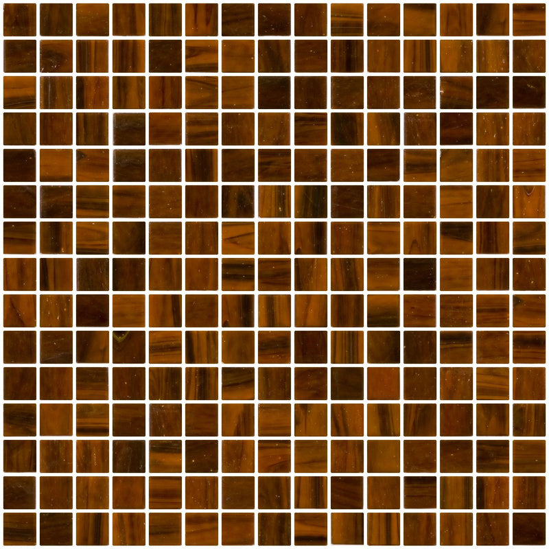 3/4 Inch Dark Brown Rust Caramel Marbled Glass Tile