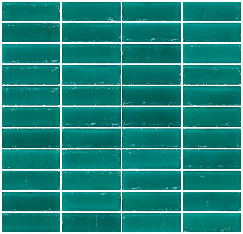 1x3 Inch Matte Teal Green Glass Subway Tile Stacked