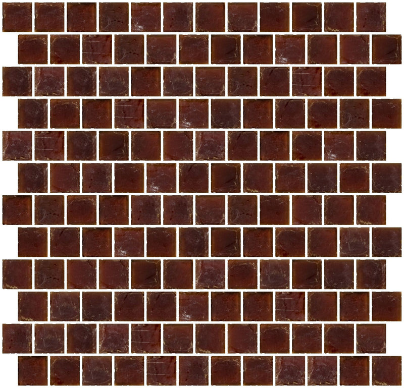 1 Inch Matte Deep Brown Glass Tile Reset In Offset Layout