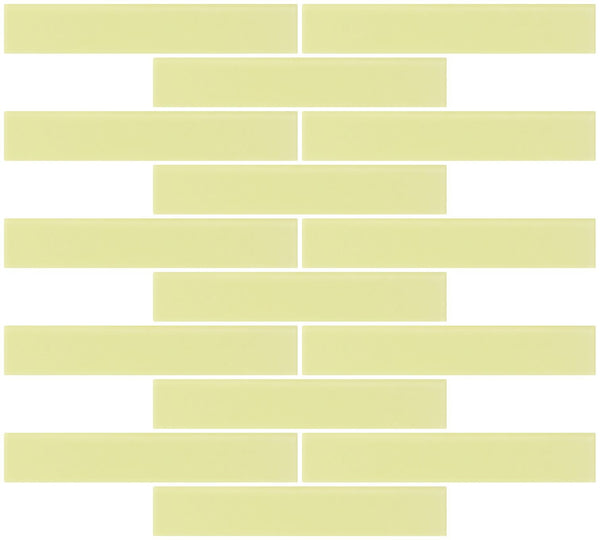 1x6 Inch Light Lime Green Frosted Glass Subway Tile Running-brick
