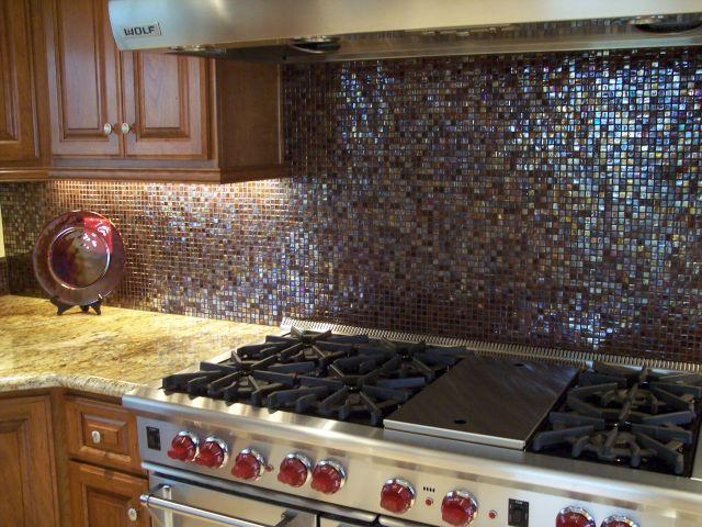 5/8 Inch Dark Brown Iridescent Glass Tile