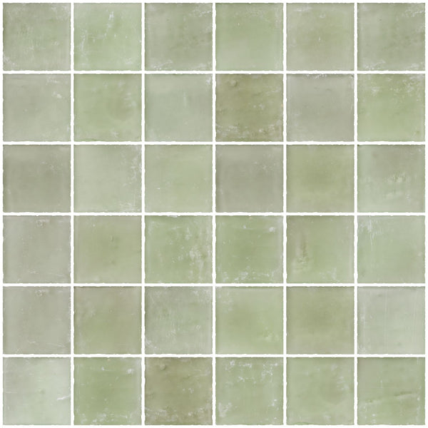 2x2 Inch Matte Green Glass Tile