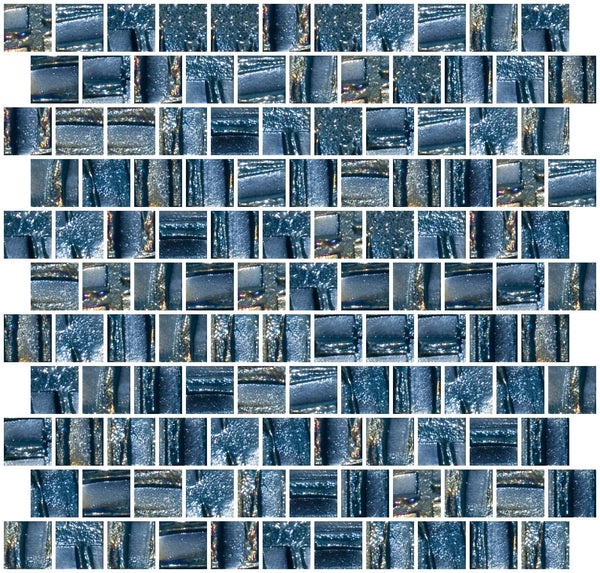 1 Inch Industrial Blue Textured Recycled Glass Tile Offset