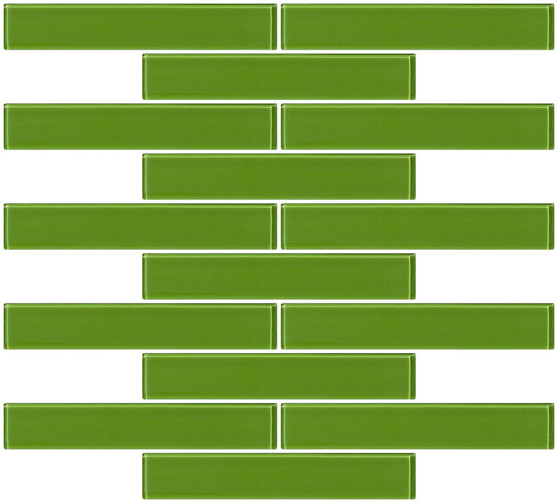 1x6 Inch Dark Lime Green Glass Subway Tile Reset In Running-brick Layout