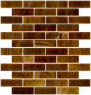 1x3 Inch Opaque Deep Brown Glass Subway Tile