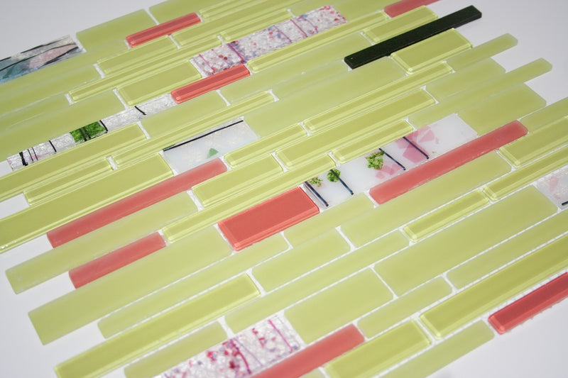 Chartreuse and Coral Subway Linear Glass Tile