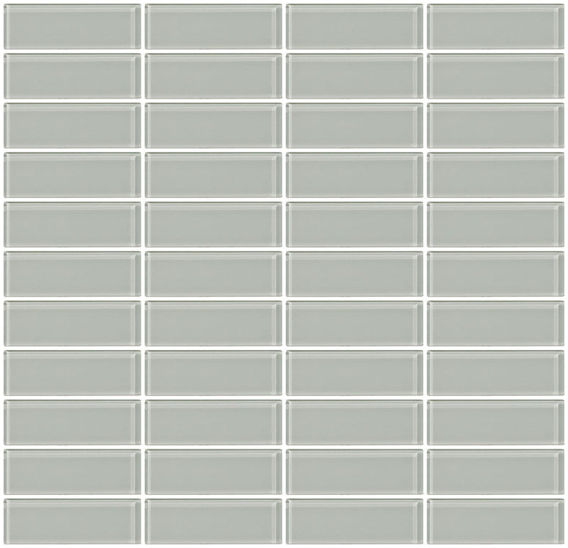 1x3 Inch Light Gray Glass Subway Tile Stacked