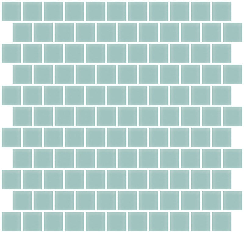 1 Inch Light Aqua Blue Frosted Glass Tile Reset In Offset Layout