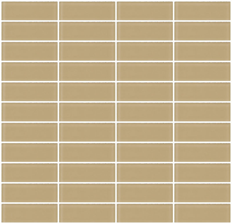 1x3 Inch Wheat Brown Frosted Glass Subway Tile Reset In Stacked Layout