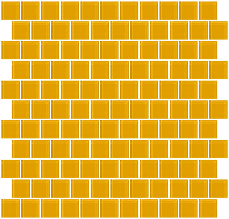 1 Inch Dark Yellow Glass Tile Reset In Offset Layout