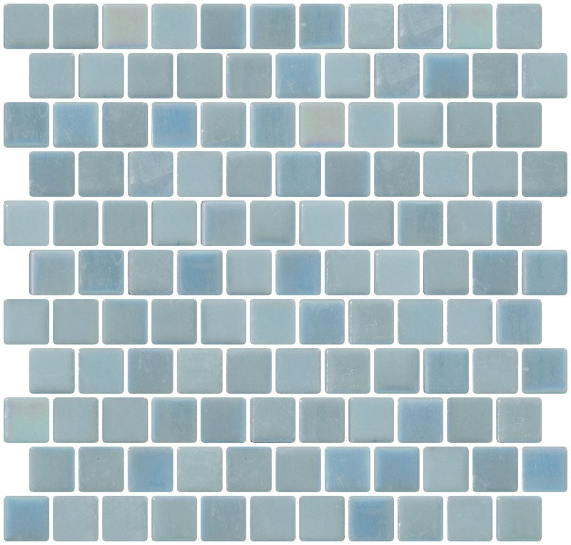 1 Inch Turquoise Blue Glow in the Dark Glass Tile Reset In Offset Layout