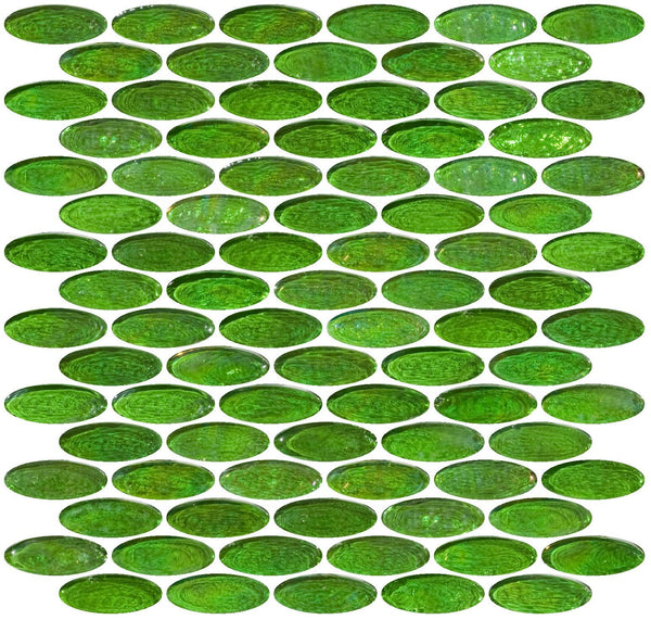 Oval Green Iridescent Glass Tile