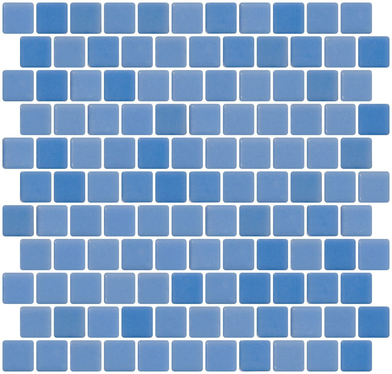 1 Inch Medium Periwinkle Blue Recycled Glass Tile Offset