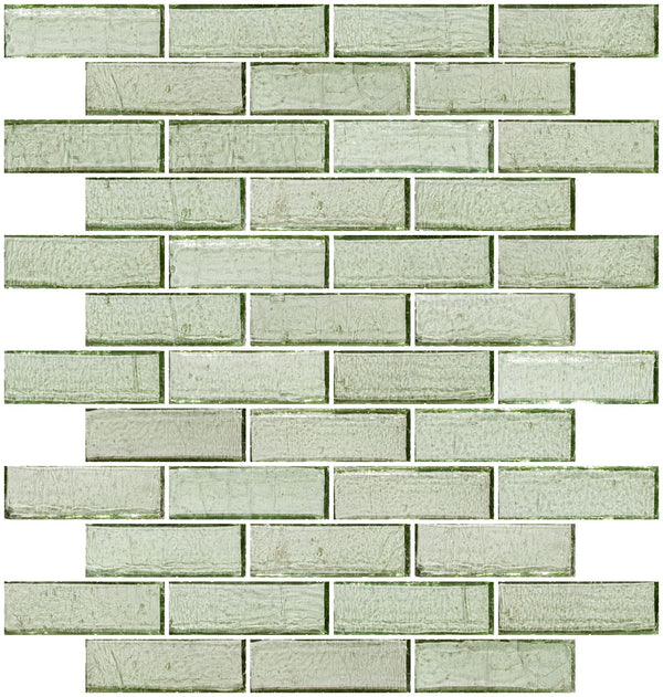 1x3 Inch Green Transparent Glass Subway Tile