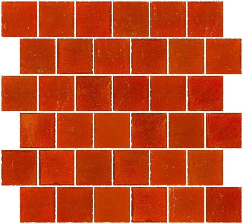 2x2 Inch Transparent Bright Orange Glass Tile Reset In Offset Layout