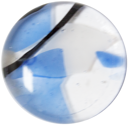 1-INCH ROUND Blue Summer Blooms on clear transparent FUSED GLASS ACCENT TILE