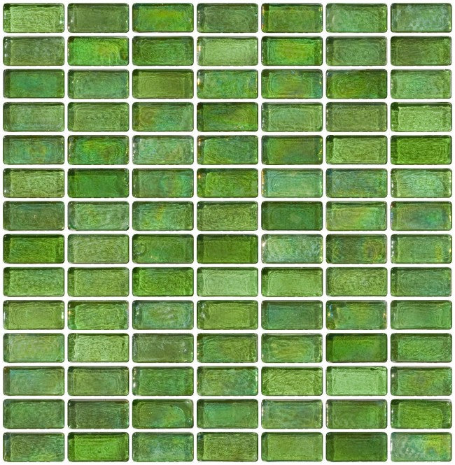 3/4 x 1 1/2 Inch Green Iridescent Glass Subway Tile
