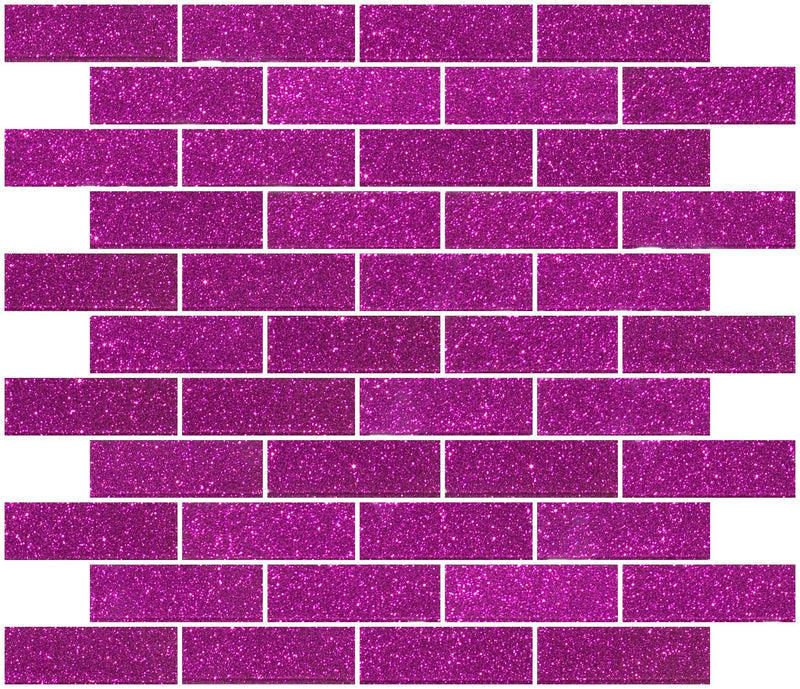 1x3 Inch Fuchsia Pink Glitter Glass Subway Tile