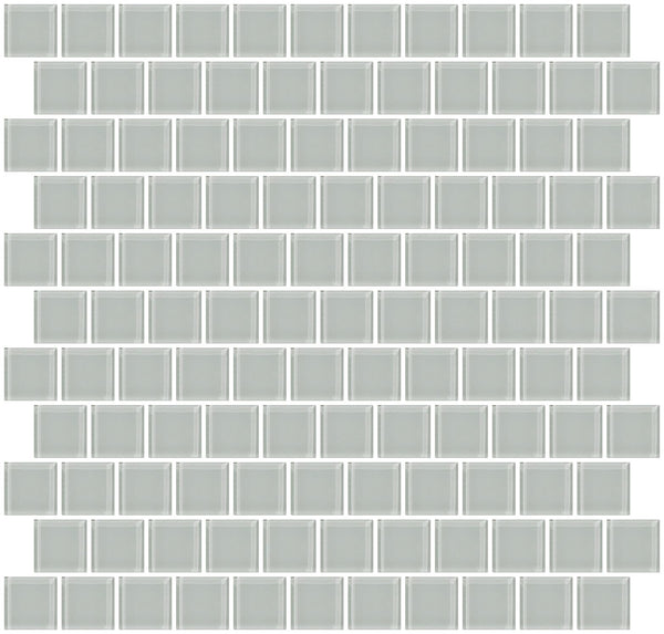 1 Inch Light Gray Glass Tile Reset In Offset Layout