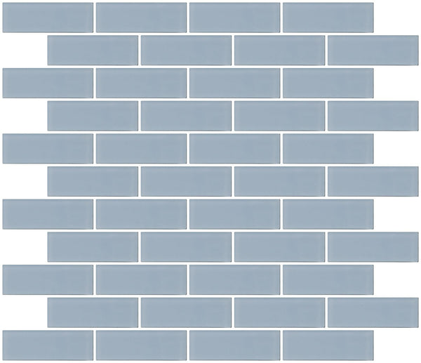 1x3 Inch Baby Blue Frosted Glass Subway Tile