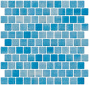 1 Inch Turquoise Blue Dapple on White Recycled Glass Tile Reset In Offset Layout