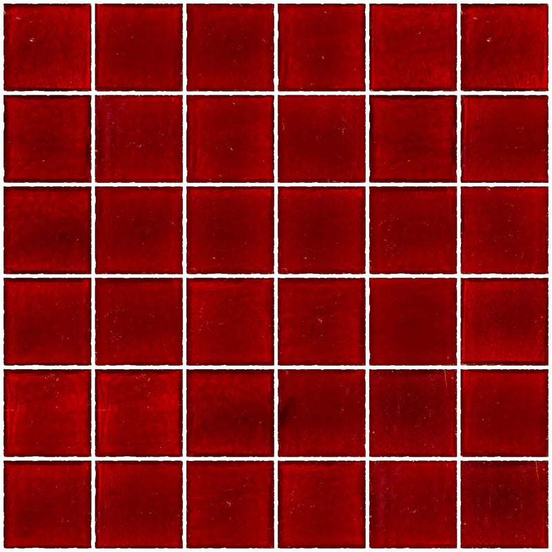 2x2 Inch Transparent Red Glass Tile