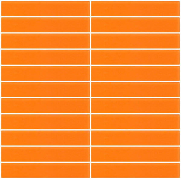 1x6 Inch Orange Frosted Glass Subway Tile