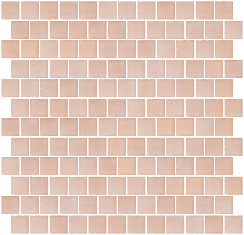 1 Inch Matte Peach Pink Glass Tile Reset In Offset Layout