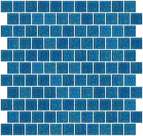 1 Inch Denim Blue Glitter Glass Tile Offset