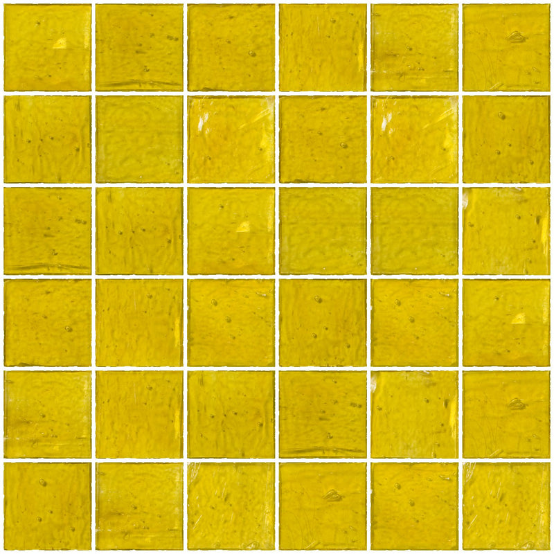 2x2 Inch Transparent Sunshine Yellow Glass Tile