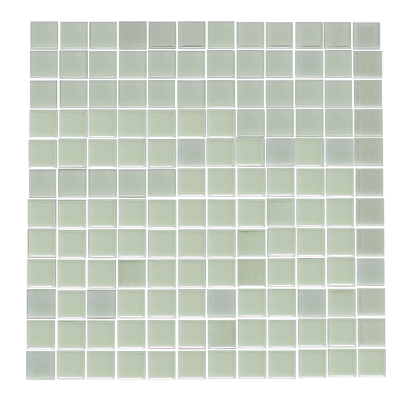 1 Inch Iridescent White Glow in the Dark Recycled Glass Tile - Glow Green